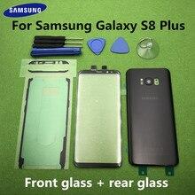 Oryginalny S8 + przód do szkła ekranu i soczewek do Samsung Galaxy S8 Plus G955 SM G955F tylna obudowa na baterię drzwi tylna obudowa + narzędzia