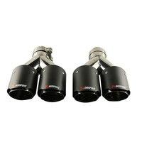 JZZ 1pcs akrapovic car exhaust tip muffler for car silencer 2.5 true carbon fiberglass dual tip turbo nozzle 3.5 outlet