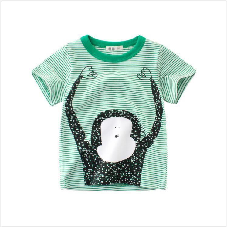 1-8 Jahre Jungen Tops Kleidung Sommer Kinder Kurzarm T Shirts Jungen Baumwolle Cartoon Affe Tees Outfits Kinder Grün Streifen Top SchöN Und Charmant