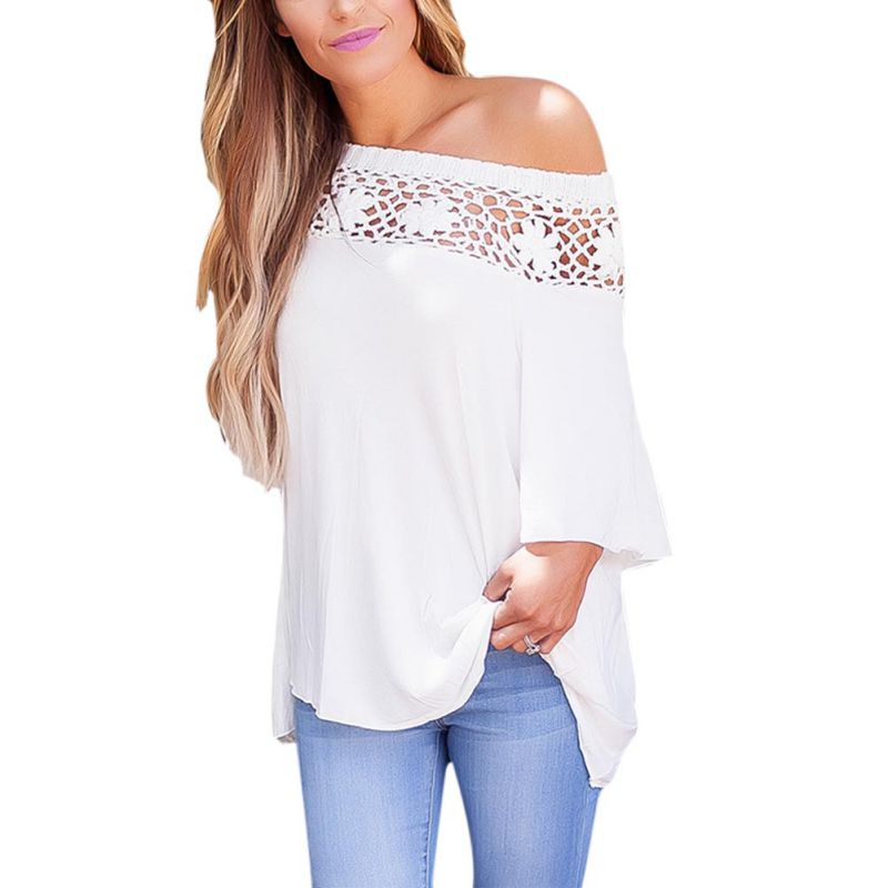 Sexy Floral Lace Cold Shoulder Tees Ladies' Hollow Out Solid Color Half Sleeve Summer Loose Cozy T-shirt Female Elegant Tops