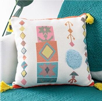 Housse de coussin tuftée Boho housse de coussin 100% coton housse de coussin de mariage Boho décor à la maison, taille et couleur personnalisées 45X45 CM/40 CMRD