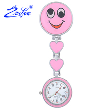ZUNLONG Lovely Smile Face Luminous Pointer Nurse Watch Doctor Portable Fob Watches Brooches Medical Quartz Pocket Watch Women