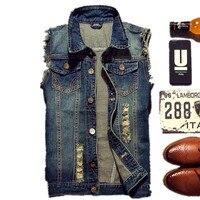 2017 Ripped Jean Jacket Men S Denim Vest Hip Pop Jean Jackets Waistcoat Men Cowboy Brand