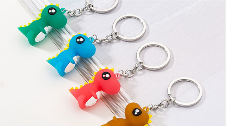 4colors Cartoon Key Chains Car Dinosaur Keychain Animal PVC Keychains Women Bag Charm Key Ring Pendant Gifts