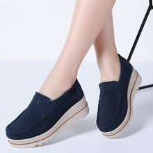 LZJ 2019 Spring women flats shoes platform sneakers shoes leather suede casual shoes slip on flats heels creepers moccasins 3088(China)