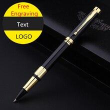 Roller Pen de lujo con caja negra, bolígrafo de Gel con clip dorado, Metal pesado, sensación de buena calidad, 3 recambios gratis