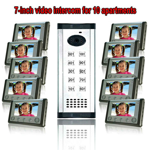 7TFT-LCD free disturb wired audio video door intercom system with night vision monitor doorbell for 10 apartments of 1 building door intercom video cam doorbell door bell with 4 inch tft color monitor 1200tvl camera