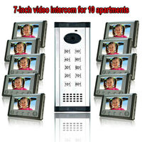 7TFT LCD free disturb wired audio video door intercom system with night vision monitor doorbell for 10 apartments of 1 building
