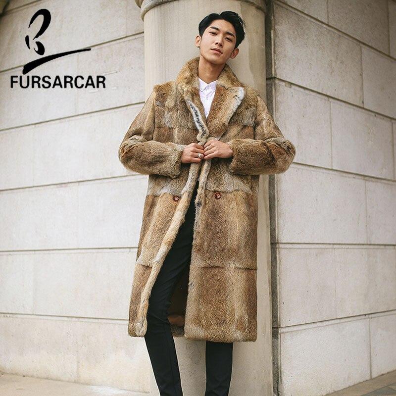 FURSARCAR Full Pelt 100cm Long Natural Rex Rabbit Fur Jacket For Men Genuine Leather Fashion Rabbit Jacket Warm Fur Coats