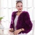 Genuine Turquia Fur Outwear Feminino Real Pele Grossa Quente Casaco Curto Casuais Moda Plus Size Jaqueta de Inverno Senhora Da Pena Da Avestruz