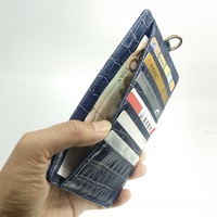 Genuine Leather Card Holder Strap Phone Pouch Bag Case For iPhone X XS Max XR 6 6S 7 8 Plus Luxury Crocodile Thin Cover Blue