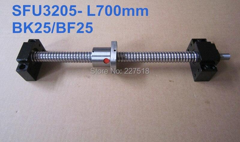 Ballscrew 3205 -L700mm with SFU3205 ballnut with end machining and BK25 BF25 Support ballscrew 3205 l700mm with sfu3205 ballnut with end machining and bk25 bf25 support