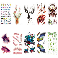RC310-330 Waterproof Tattoos Sticker Color Sika Red Deer Skull Scar Temporary Tattoo Stickers Body Art Flash Tattoo Foil Taty