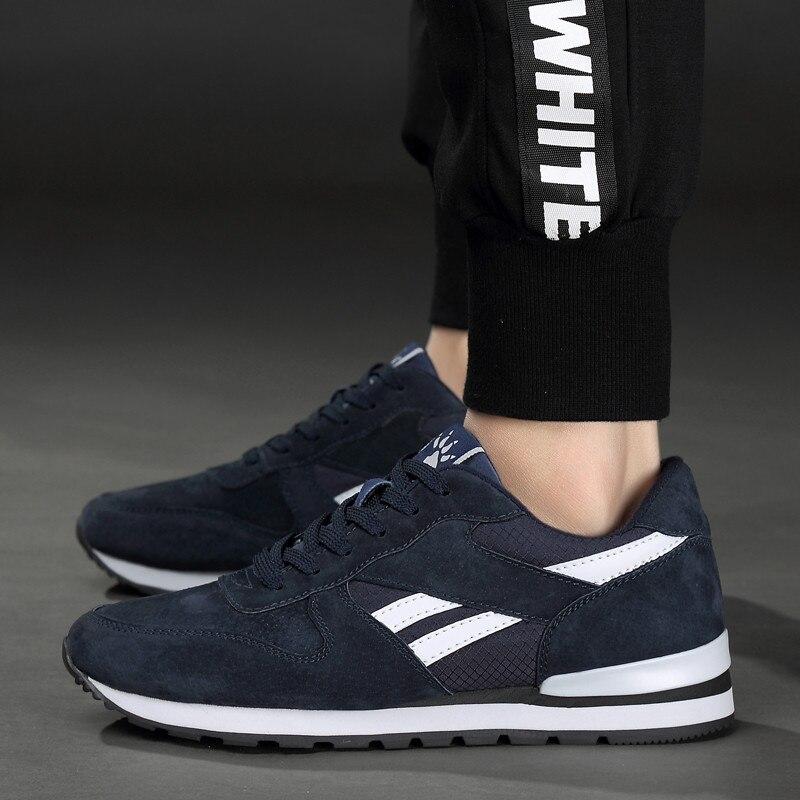 Prawdziwej skóry męskie trampki oddychające buty w stylu casual antypoślizgowe buty trekkingowe lekki gumowa podeszwa lace up w Męskie nieformalne buty od Buty na  Grupa 1