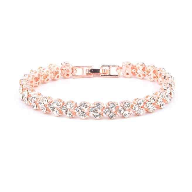 Kualitas Tinggi 2020 Hot Fashion Pernikahan Perhiasan Sederhana Pesona Kristal Berlian Imitasi Emas Warna Manset Gelang untuk Wanita