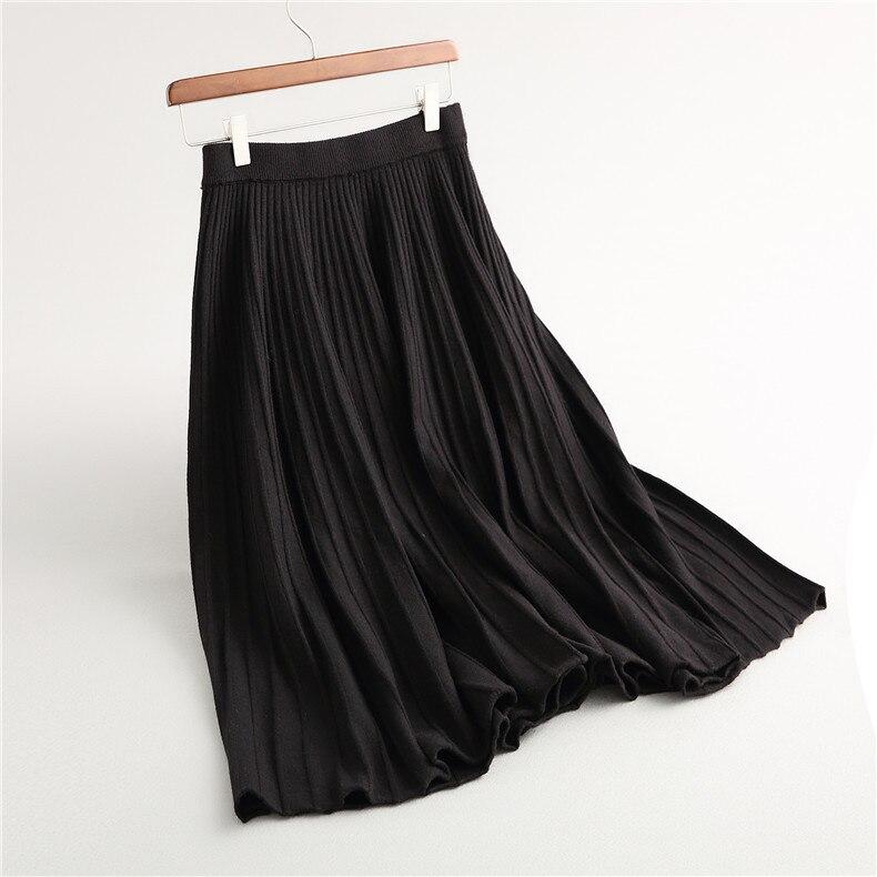 Europea Elegante Sólido Del Negro Color De Innasofan caqui Alta Falda Mujeres gris Moda Cintura Otoño Caliente Plisada Punto invierno ZRRP7pwqx
