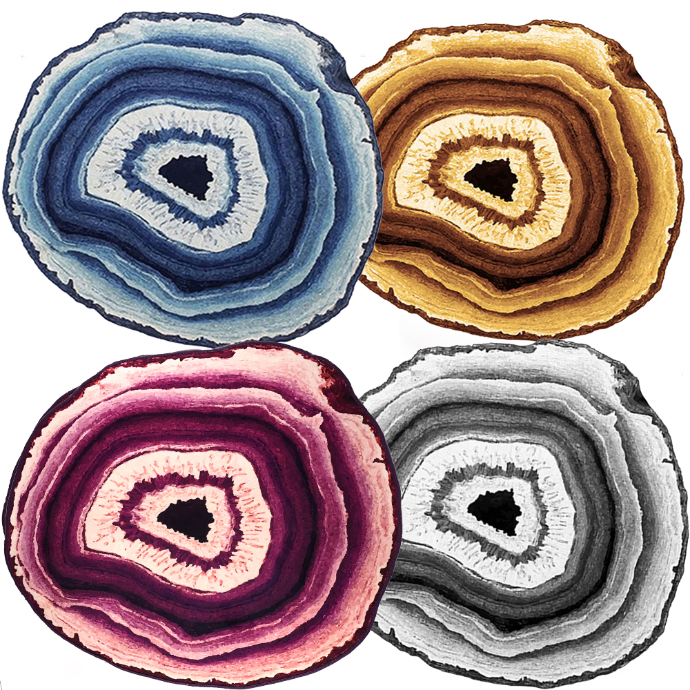 Country Style Multisize Tree Rings Wood Carpet And Rug Stripe Purple Blue  Lake Living Room Rugs