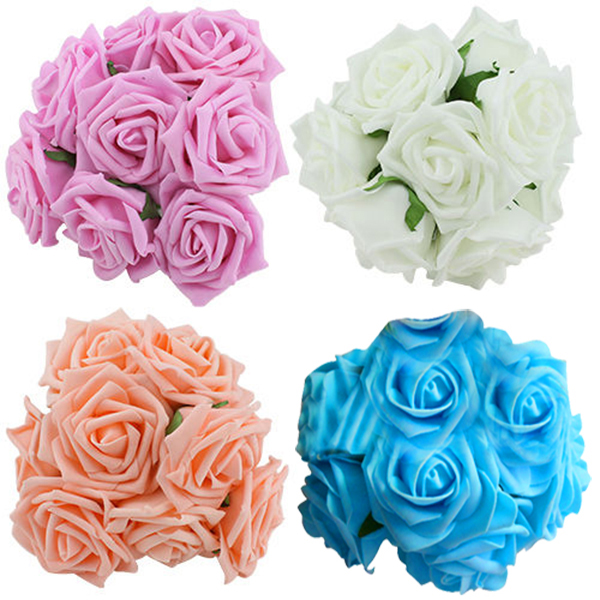 10 Heads 8CM/ 6.5CM Artificial Rose Flowers Wedding Bride Bouquet PE Foam DIY Home Hotel Decoration Rose Flowers P15