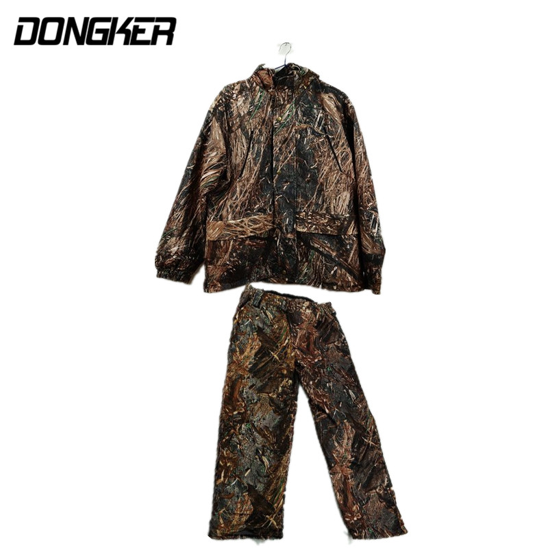 Adults Autumn Winter Bionic Camouflage Hooded Jacket and Bib Pant Set Hunting Ghillie Suits Outdoor Military Airsoft Unifrom bionic ghillie suits maple leaf camouflage hunting ghillie suits
