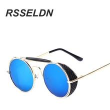 RSSELDN Classic Fashion Unique Metal Frame Sunglasses Male Punk Circular Coating High-end Women to VINTAGE Sun Glasses UV400