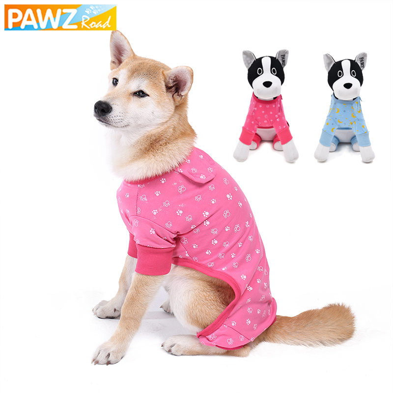 PAWZRoad Pet Dog Cute Jumpsuit Klær til Små Hunder Pyjamas Rosa Blå Katt Klær Shirt Paw Print Dog Puppy Costume Pustable