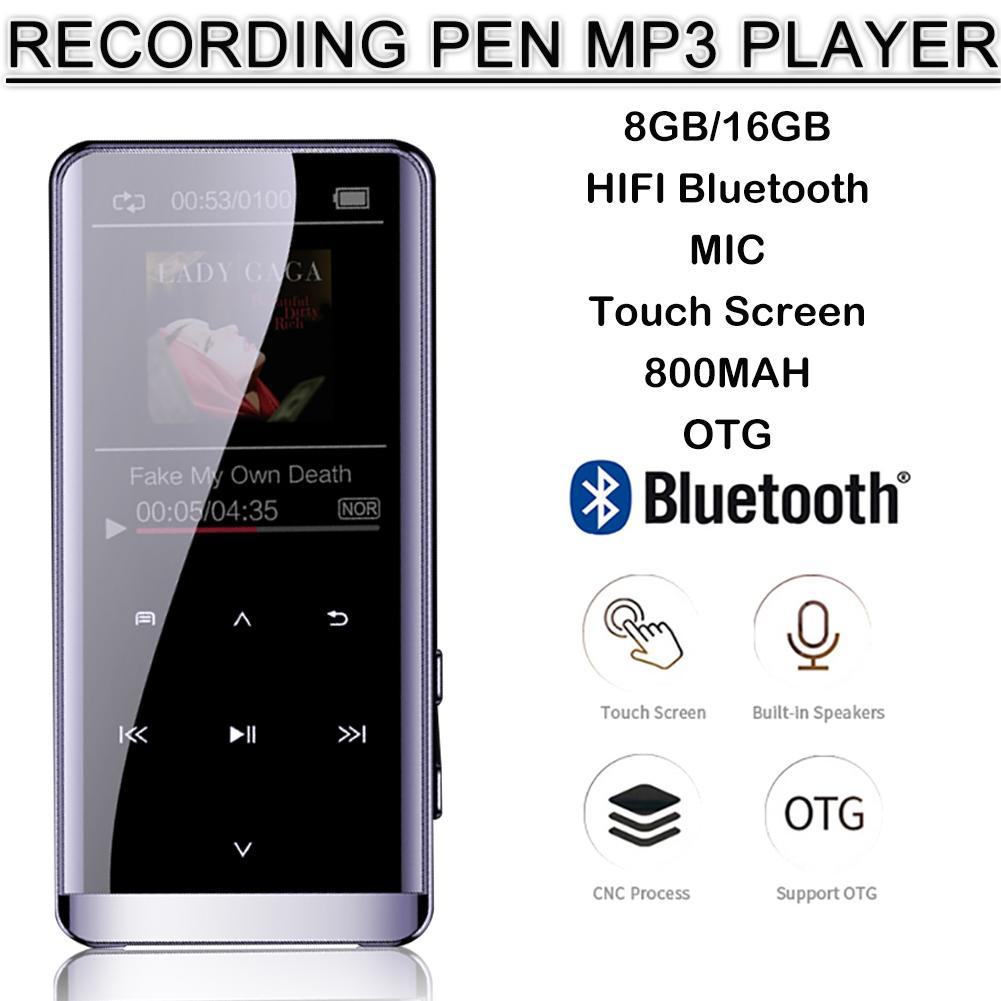 OTG MP3 Player Voice Recorder Bluetooth 4.2 Touch Screen 1.8inch Portable HIFI 5D Music Player 8GB/16G Ultra Thin MP3 Player FM
