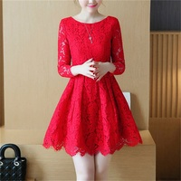Spring And Autumn Of The New Fashion Solid Color Temperament Long Sleeved Lace Slim Dress 5