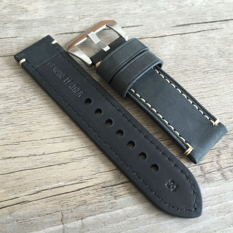 Genuine Leather Watch Band Strap 20mm 22mm 24mm 26mm Men Thick Watchbands Bracelet Belt With Metal Buckle For Panerai Watch