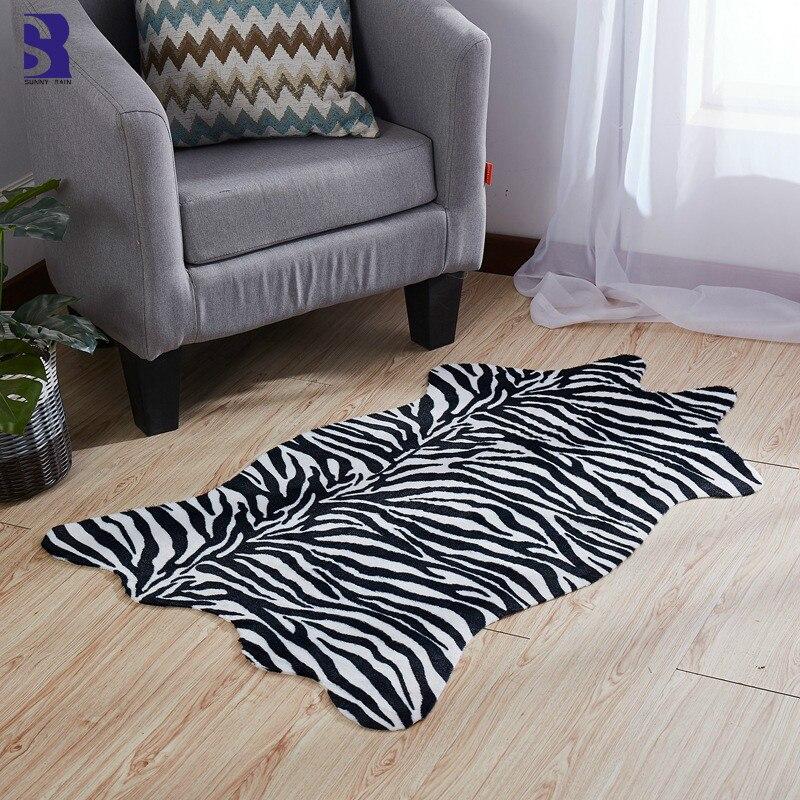 SunnyRain 1 Piece Artificial Fur Zebra Rug For Living Room