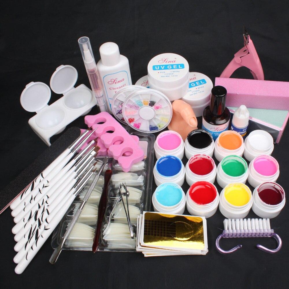 NEW Pro 12 Color UV Gel 8 Zebra Brush Nail Tips Nail Art Tool Kits Sets #43 2018 pro uv gel nail art sets tool kits uv lamp brush remover rhinestones nail half tips cleanser plus acrylic ms coco set