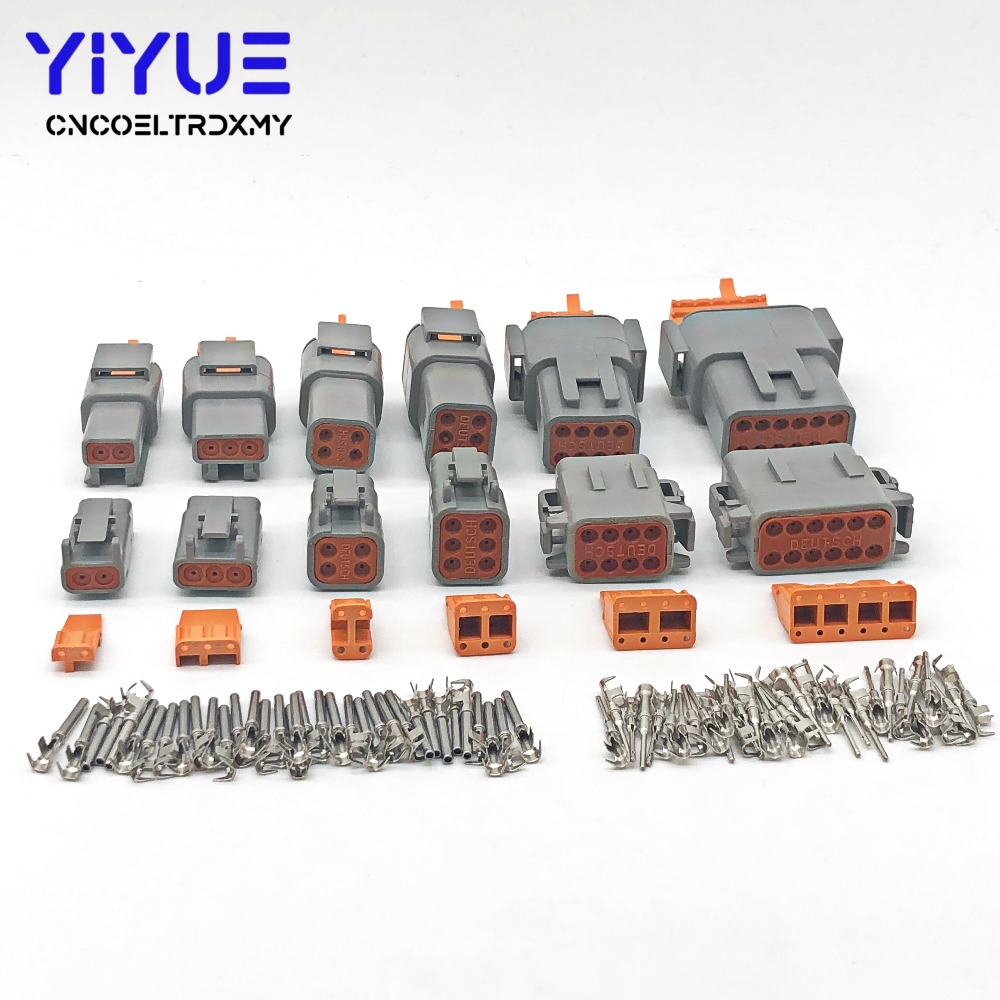 Deutsch DTM 2-12P DTM06-2/3/4/6/8/12S DTM04-2/3/4/6/8/12P 20-24awg Waterproof Connector Automotive Sealed Plug With Pins