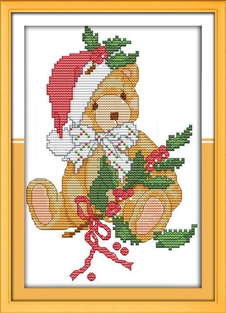 Joy Sunday Cartoon Style Christmas Teddy Bear Counted Cross Stitch