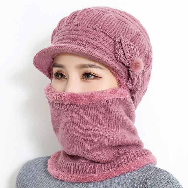 2018 נשי צוואר חם סתיו חורף בימס כובעי מסכת נשים חורף כובע סרוג כובעי צעיף סט כפת סקי כובעי אישה