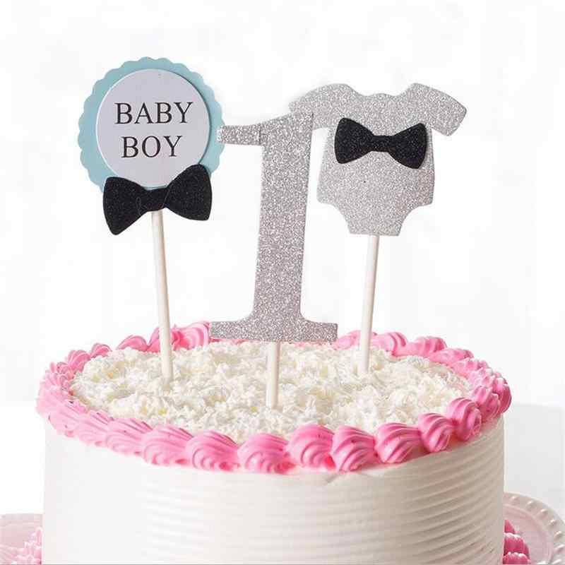 Groovy 3Pcs Cake Topper Flag Baby Boy Girl 1 Year Old Age Happy Birthday Personalised Birthday Cards Vishlily Jamesorg