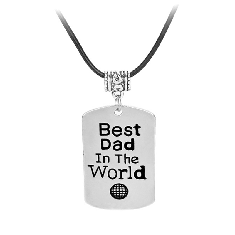 2018 New Fashion Classic Trendy Father Day Gift Letter Best Dad In The World Geometric Square Alloy Pendant Choker Man Necklace