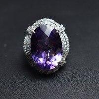 Распродажа Fine Jewelry реальные 925 Steling Серебряные s925 100% натуральный фиолетовый аметист драгоценный женский кулон колье Рождественский подарок