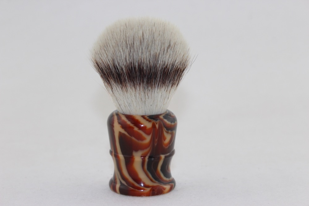 FS-#SYS26-AM33, Faux Silvertip Synthetic Fiber PUR-TECH Shaving Brush With Faux Amber Handle, Knot 26mm+FREE STAND+FREE SHIPPING
