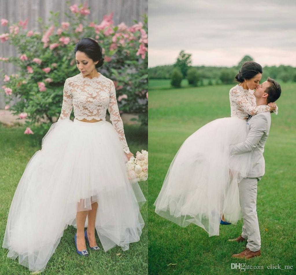 High Low Lace Short Wedding Dresses 2017 Long Sleeve Neck Tulle Layers Illusion Two Pieces Bridal Gowns Cheap W9 In From Weddings