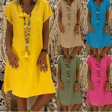 Новые женские платья больших размеров, одноцветные модные длинные платья с v-образным вырезом и коротким рукавом