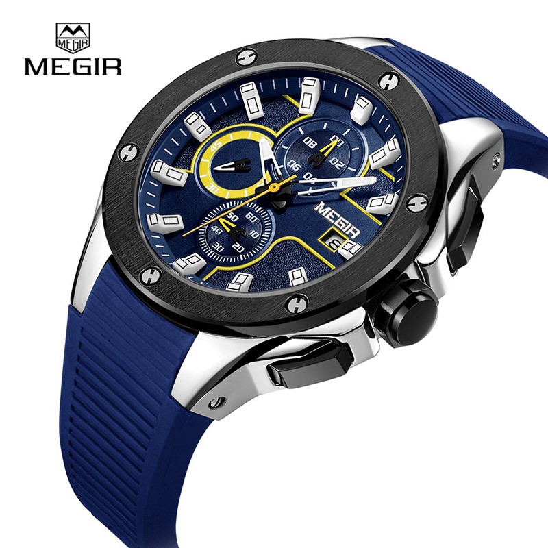MEGIR Top Brand Chronograph Quartz Mens Watch Clock Luxury Silicone Army Military Sport Watches Men relogio masculino 2053 megir mens chronograph 6 hands 24 hours function sport wrist watches luxury silicone military quartz watch man relogio masculino