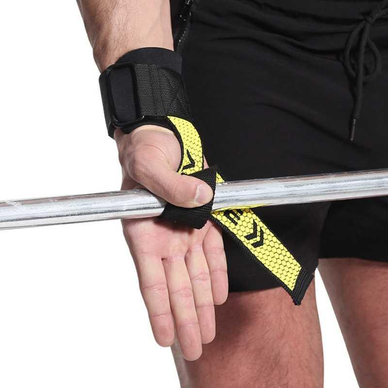 2pcs הרמת משקולות יד כרית יד כורכת רצועות כפפות גברים כושר אחיזת תמיכת הרמת חגורת אימון כושר פיתוח גוף