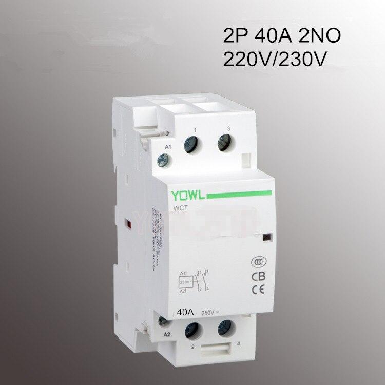 2 P 40A 220 V/230 V 400V ~ 50/60 HZ su guida Din Per La Casa Albergo Casa Modulare contattore di CA WCT 2NO