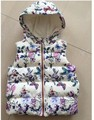 YW16040 2017 Fashion Spring Baby Girl Vest Floral Hooded Print Butterfly Girl Waistcoat Fleece Worm Girl Clothes Lolita