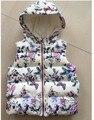 YW16040 2017 la Moda de Primavera Niña Chaleco Floral Con Capucha de Impresión Muchacha de La Mariposa Chaleco Polar Gusano Chica Ropa Lolita