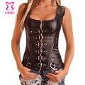 Negro Sexy Corsé Gótico Top Bustier de Cuero Con Hebilla Cremallera Cintura Trainer Deshuesado Acero Steampunk Korsett Corsés Para Las Mujeres