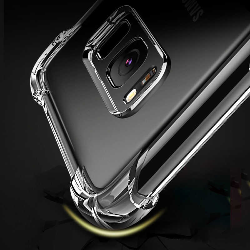 À prova de choque Capa de Silicone Macio Claro para Samsung Galaxy Nota 8 J3 J5 J7 A5 A5 A7 2017 Prime 2016 S9 além de S8 S7 S6 borda Anti-Knock