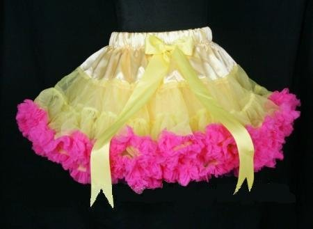 Wholesale light yellow hot pink girl skirt girl short petticoat girl pettiskirt fairy tale costumes costume princess