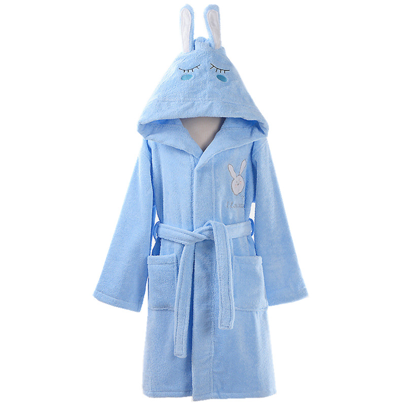 Kids Child Hooded Bathrobe Boys Girls Cotton Dressing Gown Soft Towel Bath Robe