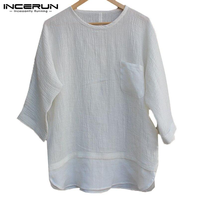 New Design Men Tshirts Long Sleeve O Neck Tee Tops Men Clothes Hombre Camisa Shirts Casual T-Shirts Autumn Shirts 3XL INCERUN