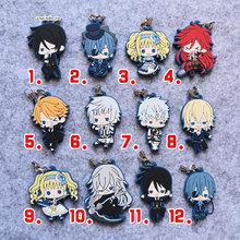 Anime Black Butler Book of the Atlantic Keychain Ciel Phantomhive Sebastian Undertaker Elizabeth Lizzy Charles Rubber Keychain(China)